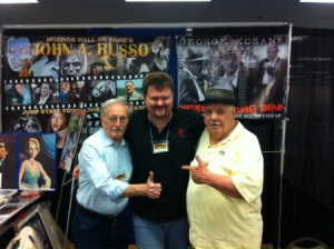 "NIGHT OF THE LIVING DEAD Author, John Russo, DARKENED HILLS Author Gary Lee Vincent, and NIGHT OF THE LIVING DEAD MOVIE ""Sheriff"" George Kosanna pose at one of the Horror Cons. All have stories in THE BIG BOOK OF BIZARRO by Burning Bulb Publishing."